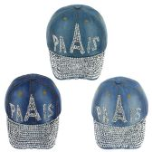 24 Units of Paris Jewel Rhinestone Bling Studs Adjustable Baseball Cap - Hats With Sayings