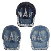 24 Units of Paris Jewel Rhinestone Half Bling Studs Adjustable Baseball Cap - Hats With Sayings