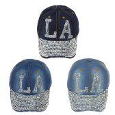 24 Units of LA Jewel Rhinestone Bling Studs Adjustable Baseball Cap - Hats With Sayings