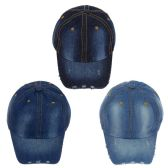 24 Units of Wholesale Denim Jean Adjustable Baseball Cap - Hats With Sayings