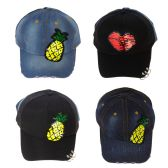 24 Units of Adjustable Pierced Patch Baseball Cap in 4 Assorted Colors - Baseball Caps & Snap Backs