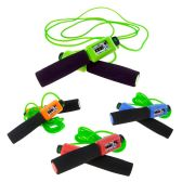 48 Units of Wholesale Kids 10 ft Jump Rope with Foam Handle and Counter in 4 Assorted Colors - Jump Ropes