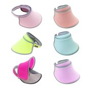24 Units of Women's Sun Hat Visor Shield in 6 Assorted Colors - Sun Hats