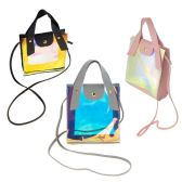 24 Units of Women's Crossbody Bag with Clear Metallic in 3 Assorted Colors - Shoulder Bags & Messenger Bags