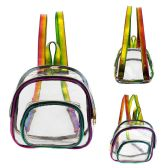 "24 Units of 10"" Wholesale PVC Clear Mini Rainbow Backpack - Backpacks 15"" or Less"