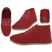 24 Units of Women's Hi-Top Canvas Shoes ( *Red Color ) - Women's Sneakers