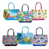 24 Units of Wholesale Extra Large Canvas Beach Tote Bag in 6 Assorted Prints - Tote Bags & Slings