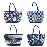 24 Units of Wholesale Extra Large Canvas Anchor Beach Tote Bag in 4 Assorted Prints - Tote Bags & Slings