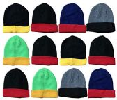 Yacht & Smith Kids Winter Beanie Hat Assorted Colors Bulk Pack Warm Acrylic Cap (12 Pack Two Tone) - Winter Hats