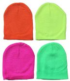 Yacht & Smith Kids Winter Beanie Hat Assorted Colors Bulk Pack Warm Acrylic Cap (4 Pack Neon) - Winter Hats