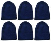 Yacht & Smith Kids Winter Beanie Hat Assorted Colors Bulk Pack Warm Acrylic Cap (6 Pack Royal Blue) - Winter Hats