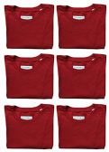 6 Units of SOCKS'NBULK Mens Cotton Crew Neck Short Sleeve T-Shirts Mix Colors Bulk Pack Value Deal (6 Pack Red, Medium) - Mens T-Shirts