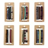 24 Units of 4 Piece Woven Braided Leather Stackable Bracelets in 6 Assorted Styles - Bracelets