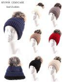 36 Units of Women's Winter Fleece Lined Pom Pom Hat - Winter Hats