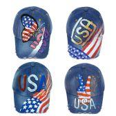 24 Units of Wholesale USA Airbrush Baseball Cap Adjustable in 4 Assorted Prints - Baseball Caps & Snap Backs