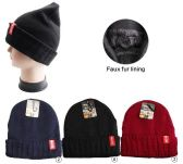 36 Units of Winter Beanie Hat With Faux Fur Lining Mix Colors Unisex - Winter Beanie Hats