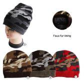 36 Units of Winter Beanie Hat With Faux Fur Lining Mix Colors Unisex Camoflauge Print - Winter Beanie Hats