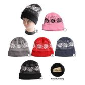36 Units of Winter Beanie Hat With Faux Fur Lining Snowflake Prints Assorted - Winter Beanie Hats