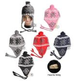 72 Units of Winter Beanie Hat With Fleece Lining Snowflake Prints Assorted - Winter Beanie Hats