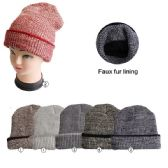 72 Units of Winter Beanie Hat With Faux Fur Lining Assorted Colors - Winter Beanie Hats