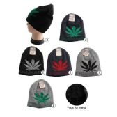 36 Units of Winter Beanie Hat With Faux Fur Lining Assorted Marijuana Prints - Winter Beanie Hats