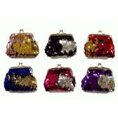 48 Units of REVERSIBLE SEQUINS SNAP ON COIN PURSE - Coin Holders & Banks