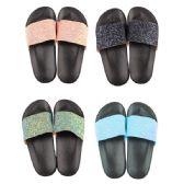 36 Units of Women's Glitter Strap Slide Sandal - Women's Flip Flops