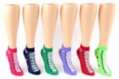 24 Units of Women's Low Cut Novelty Socks - Sneaker Print - Size 9-11 - Womens Ankle Sock