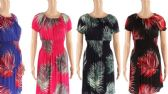 48 Units of Womens Leaf Printed Summer Dress - Womens Sundresses & Fashion