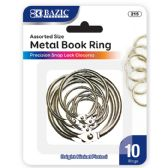 144 Units of BAZIC Assorted Size Metal Book Rings (10/Pack) - Clips and Fasteners