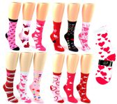 24 Units of Valentine's Day Crew Socks - Size 9-11 - Womens Crew Sock