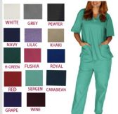 36 Units of Unisex V Neck Scrub Tops Assorted Colors - Nursing Scrubs