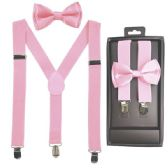 12 Units of Kids Suspenders And Bowtie Set In Light Pink - Suspenders