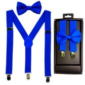 12 Units of Kids Suspenders And Bowtie Set In Royal Blue - Suspenders
