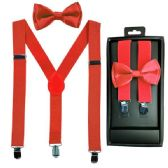 12 Units of Kids Suspenders And Bowtie Set In Red - Suspenders