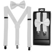 12 Units of Kids Suspenders And Bowtie Set In White - Suspenders