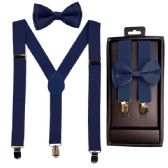 12 Units of Kids Suspenders And Bowtie Set In Navy - Suspenders