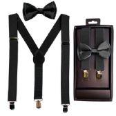 12 Units of Kids Suspenders And Bowtie Set In Black - Suspenders