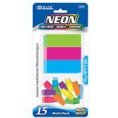 72 Units of BAZIC Neon Eraser Sets ( 15/Pack) - Erasers