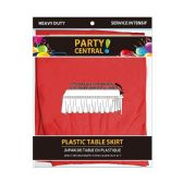 24 Units of Rectangle Red Plastic Table Skirt - Table Cloth