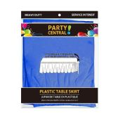 24 Units of Rectangle Dark Blue Plastic Table Skirt - Table Cloth