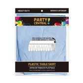 24 Units of Rectangle Light Blue Plastic Table Skirt - Table Cloth