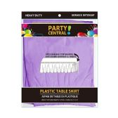 24 Units of Rectangle Lavendar Plastic Table Skirt - Table Cloth