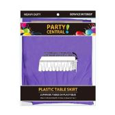 24 Units of Rectangle Purple Plastic Table Skirt - Table Cloth