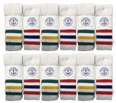 60 Units of Mens SOCKS'NBULK Premium Cotton Long Tube Socks, Referee Style, Size 10-13 White With Stripes - Mens Tube Sock