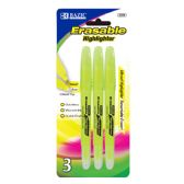 48 Units of BAZIC Yellow Erasable Highlighter (3/Pack) - Highlighter