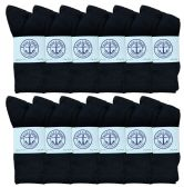 60 Units of Yacht & Smith Women's Premium Cotton Crew Socks Black Size 9-11 BULK PACK - Womens Crew Sock