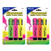 48 Units of BAZIC Fluorescent Highlighters w/ Pocket Clip (3/Pack) - Highlighter