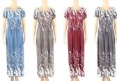 48 Units of Womens Fashion Summer Sun Dress Leaf Pattern Assorted Color And Size - Womens Sundresses & Fashion