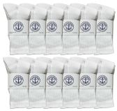60 Units of SOCKS'NBULK kids Premium Cotton Crew Socks White Size 6-8 - Boys Crew Sock